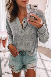 Sherobikini Cozy Henley Sweatshirt( 5 Colors )