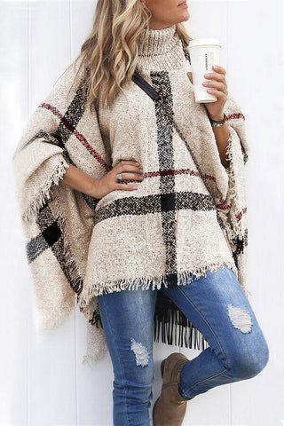 Sherobikini Lattice Cloak Poncho Sweater
