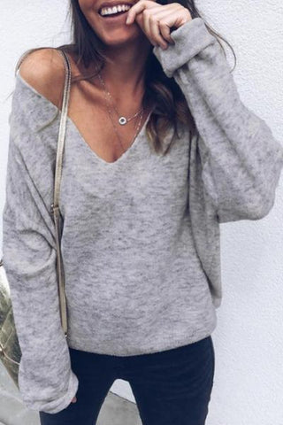 Sherobikini V Neck Plain Casual Sweater