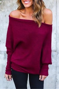 Sherobikini Lightweight Off Shoulder Bat Long Sleeves Loose Jumper