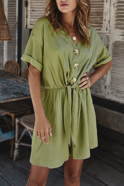 Sherobikini V Neck Button Up Solid Romper