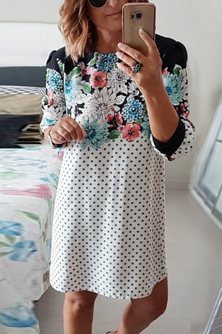 Sherobikini 3/4 Sleeve Polka Dot Floral Dress