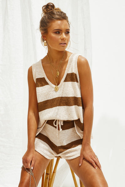 Sherobikini Deep V-neck Vest Tether Knitted Two-piece Pants