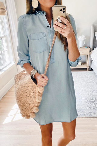 Sherobikini Long Sleeve Polo Denim Dress