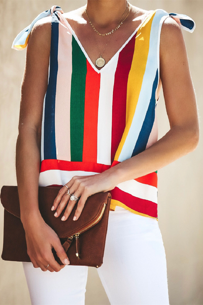 Sherobikini Chiffon Color Striped Vest Lace-up Tank
