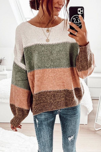 Sherobikini Striped Long Sleeve Knitted Sweater