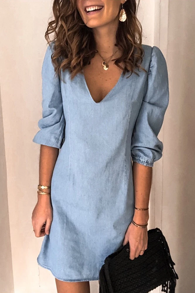 Sherobikini V-Neck Half-Sleeve Tunic Mini Dress