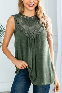 Sherobikini Lace Hollow Sleeveless Solid Blouse