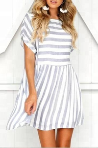 Sherobikini Random Short Sleeves Stripe Mini Dress