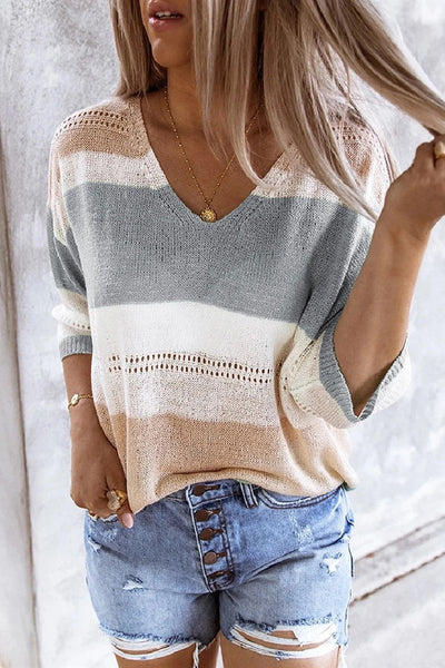 Sherobikini Colorblock Hollow Out Knitted Sweater