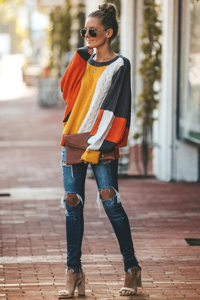 Sherobikini Thin Patchwork Round Neck Long Sleeve Sweater