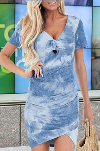 Sherobikini V-neck Tie-dye Slim Fit Dress