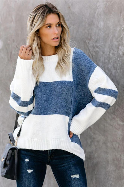 Sherobikini Striped Knit Sweater Round Neck Sweater