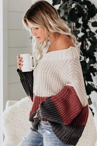 Sherobikini Off The Shoulder Colorblock Sweater