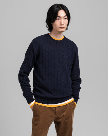 GANT PULOVER 8050076 Lambswool Cable Crew Neck