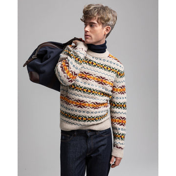 GANT PULOVER 8000123 Textured Fair Isle Crew Neck