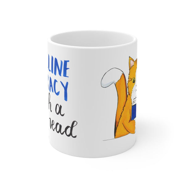 """End Feline Illiteracy.  Teach a cat to Read."" - Watercolor - Gifts for Book Lovers - 11oz Mug - Artichokes For Dinner • T-Shirts"