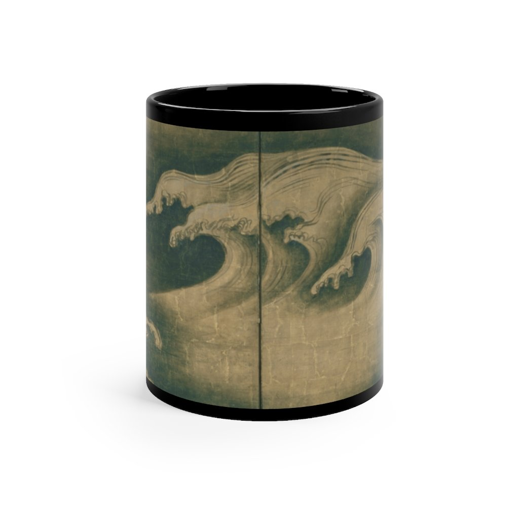Ogata Korin - Rough Waves - Black mug 11oz - Artichokes For Dinner T-Shirts & Stuff