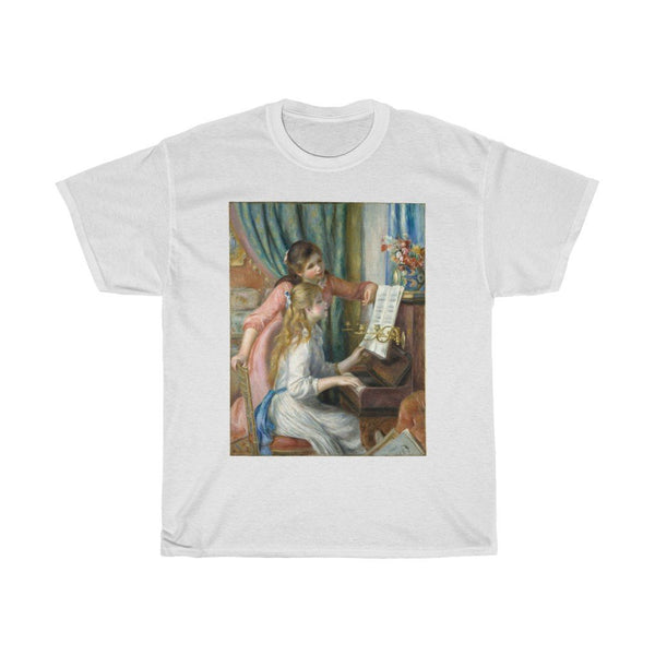Auguste Renoir - Two Young Girls at the Piano - Heavy Cotton Tee - Artichokes For Dinner • T-Shirts