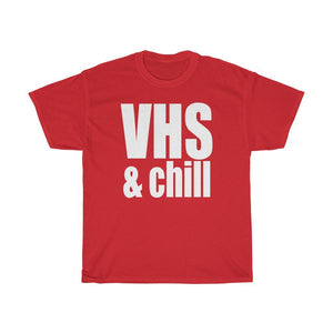 """VHS & Chill"" - Heavy Cotton Tee - Vintage Tech - VHS Collectors - Artichokes For Dinner • T-Shirts"
