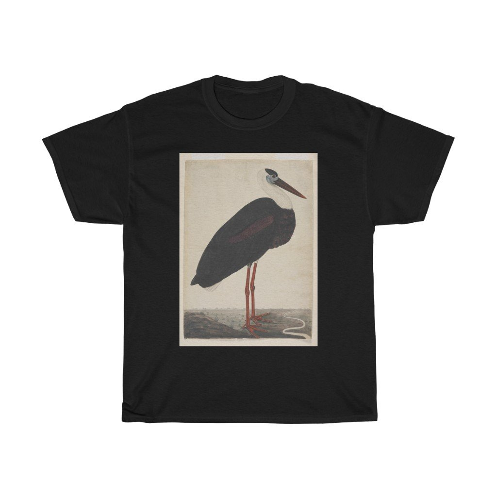 Black Stork in a Landscape - Heavy Cotton Tee - Artichokes For Dinner • T-Shirts