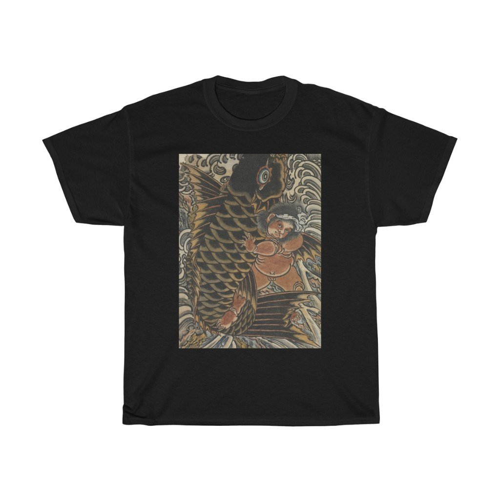 Kintaro with Carp - Heavy Cotton Tee - Artichokes For Dinner • T-Shirts