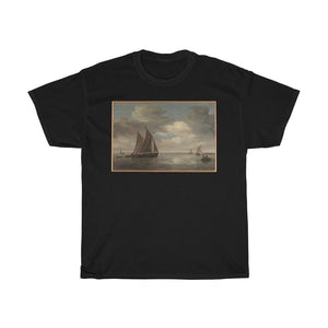 Salomon van Ruysdael - Fishing Boats on a River - Heavy Cotton Tee - Artichokes For Dinner • T-Shirts