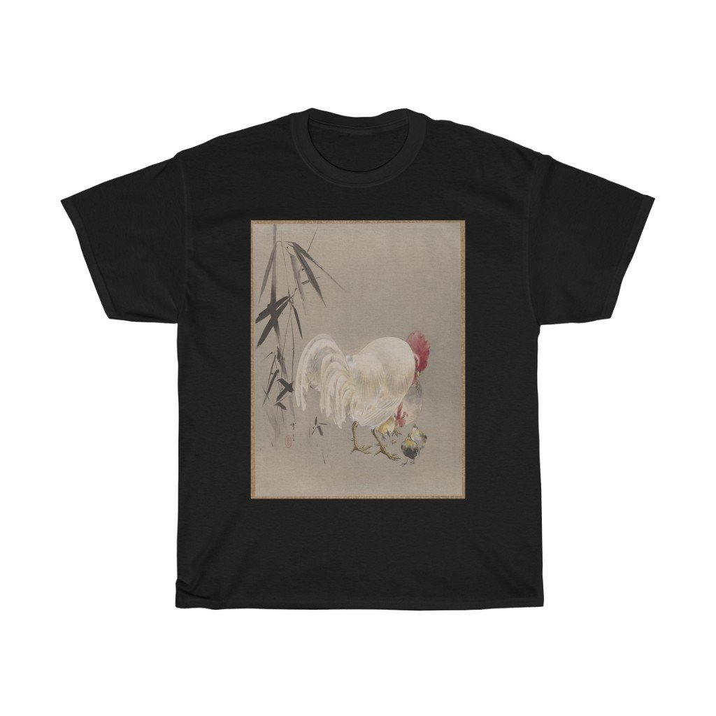 Watanabe Seitei - Rooster and Hen with Chicks - Heavy Cotton Tee - Artichokes For Dinner • T-Shirts