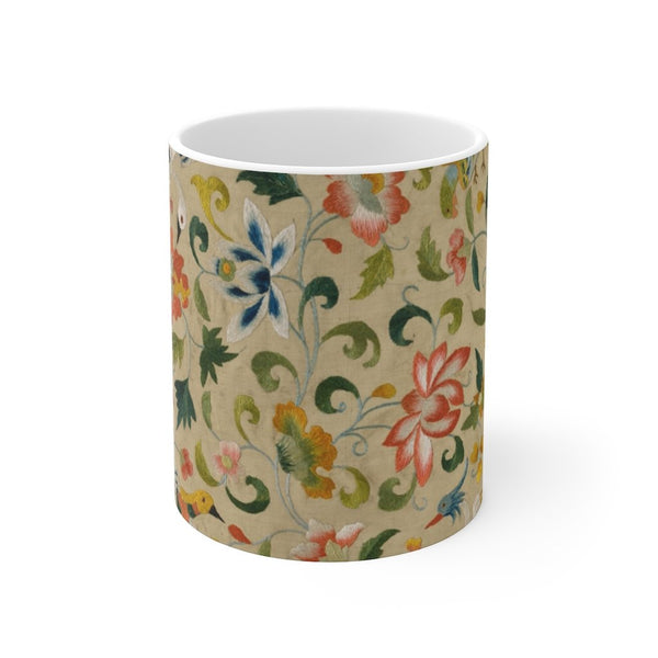 Textile with Animals, Birds, and Flowers - Mug 11oz - Flowers and Animals - Artichokes For Dinner T-Shirts & Stuff