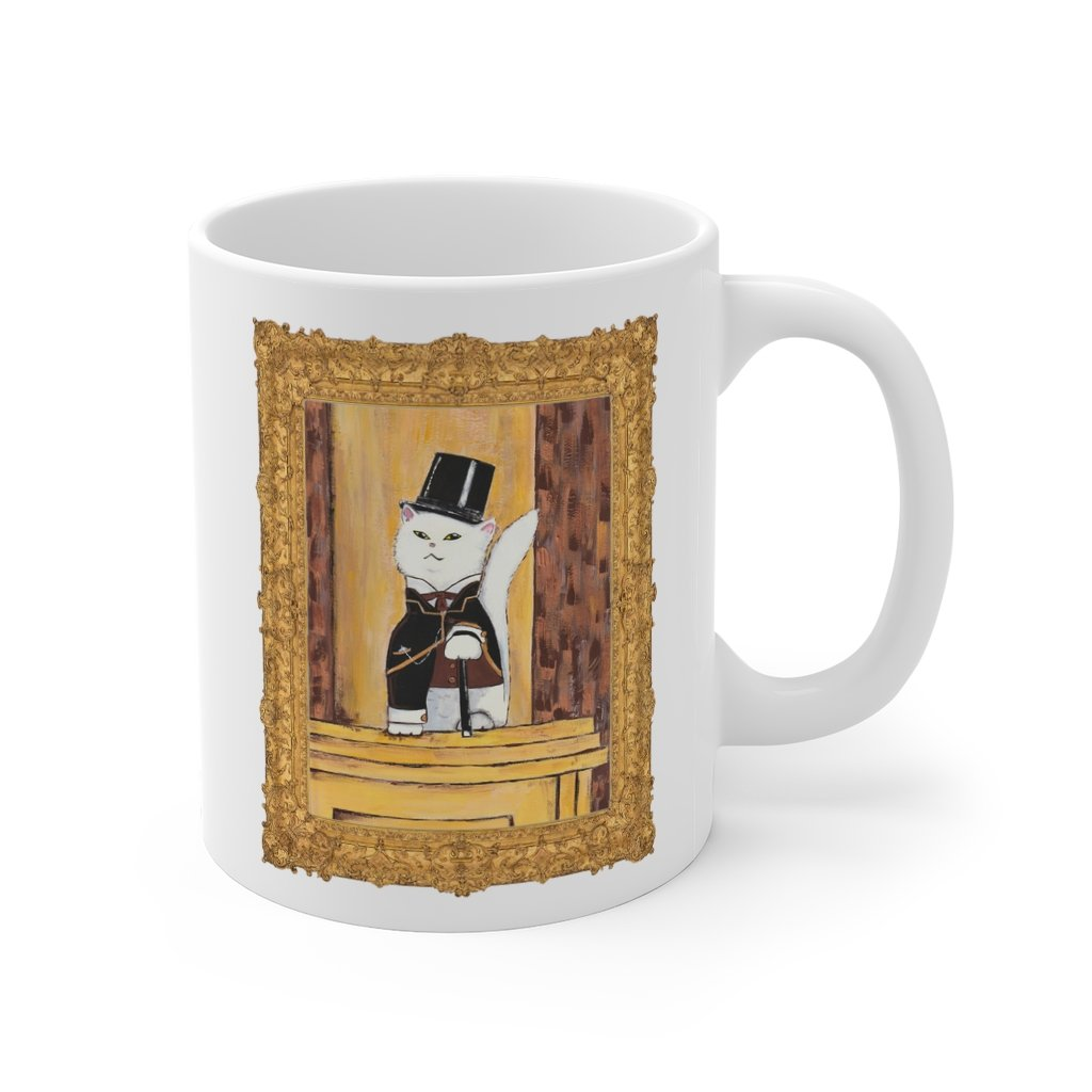 """19th Century Famous"" with Cat - Funny Cat Mug - 11oz - Artichokes For Dinner • T-Shirts"