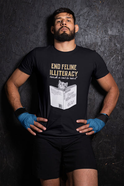 """End Feline Illiteracy.  Teach a Cat to Read."" - Heavy Cotton Tee - Cat Shirts - Artichokes For Dinner T-Shirts & Stuff"