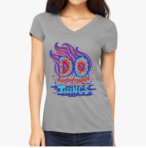 """Do Unprofitable Things"" - Slim Fit Women's V-Neck Tee - Artichokes For Dinner • T-Shirts"