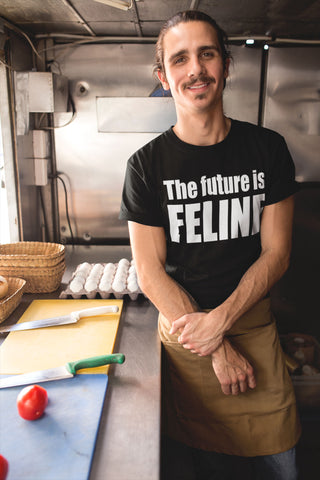 """The Future is Feline"" - Heavy Cotton Tee - Cat Shirts - Artichokes For Dinner • T-Shirts"