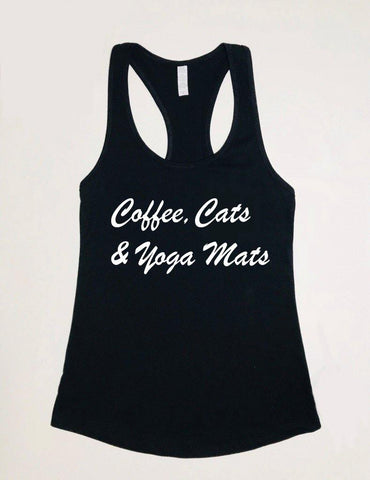 Coffe, Cats & Yoga Mats  - Tank Top - Brooklyn T Factory