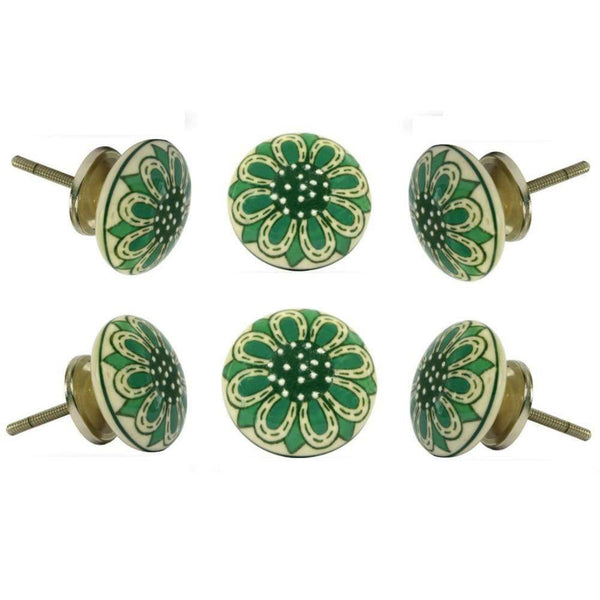 Set of Six Ceramic Herne Knobs