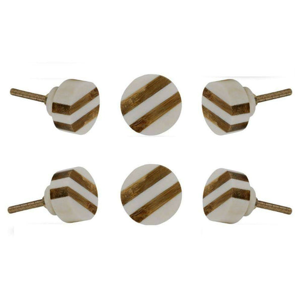 Set of Six Striped Bone Round Knob Multipack