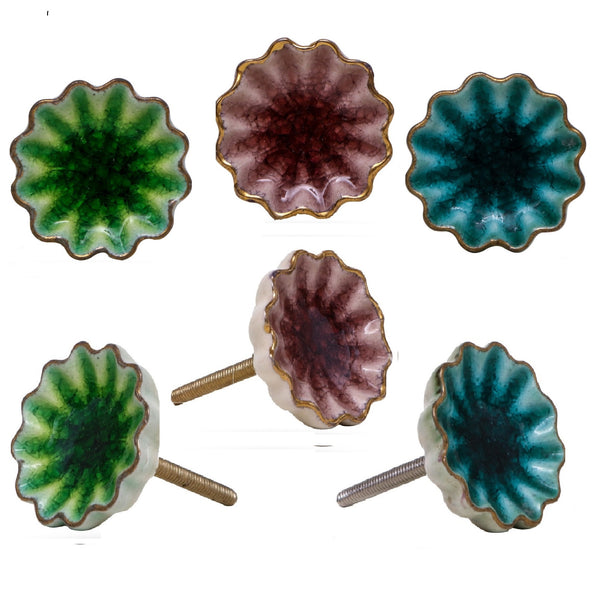 Set of Six Mixed Colour Alice Ceramic Crackle Knobs