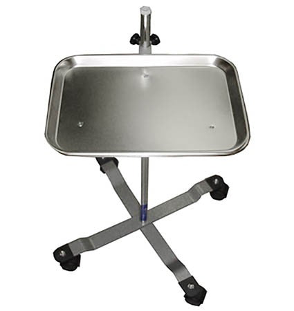 Metal Instruments Tray on Wheeled Floor Stand