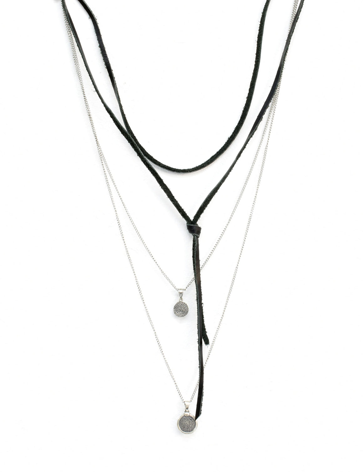 .925 Sterling Silver 'CALYSTO' layered leather necklace