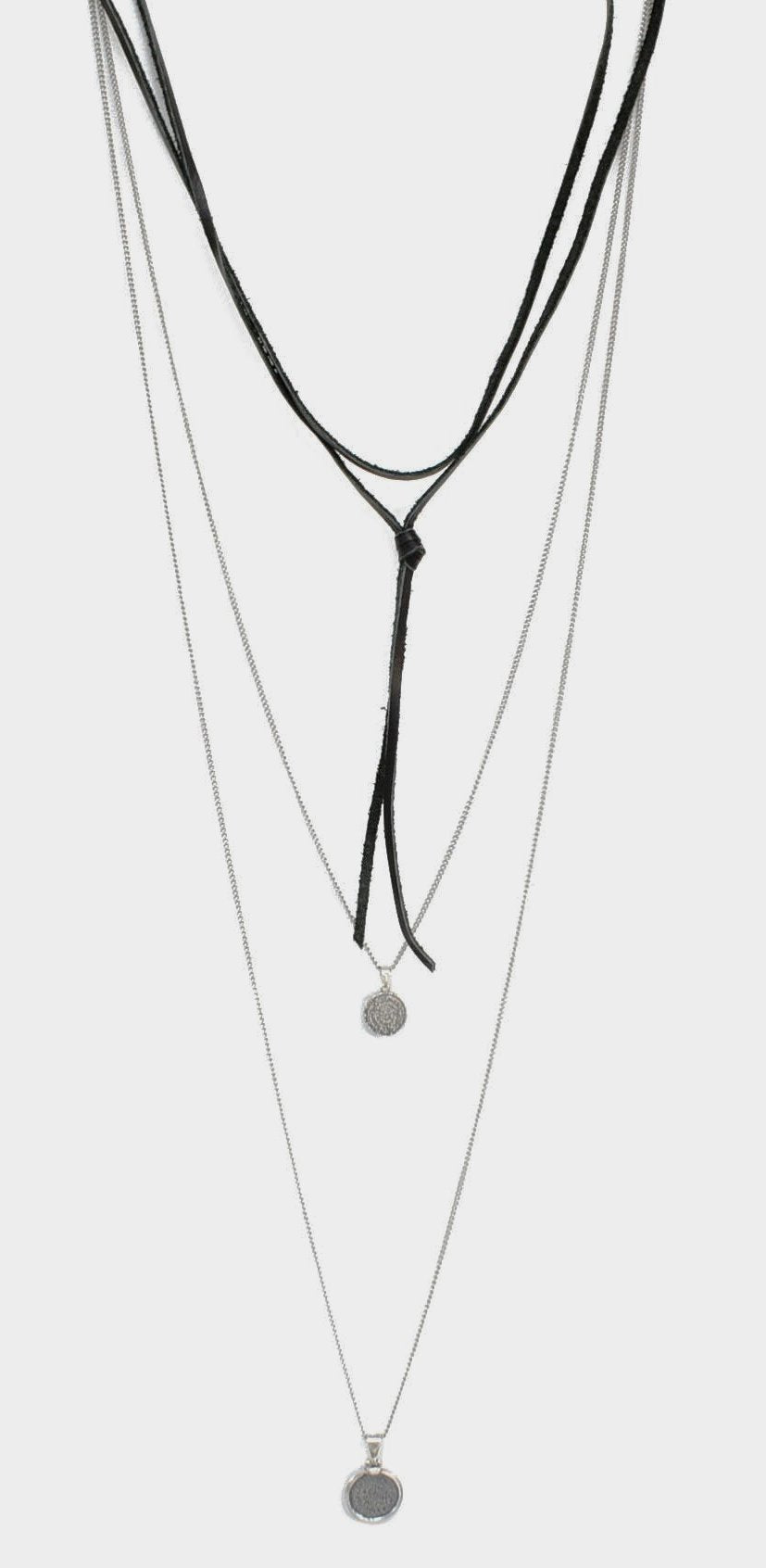 CALYSTO .925 sterling silver/blk leather necklace
