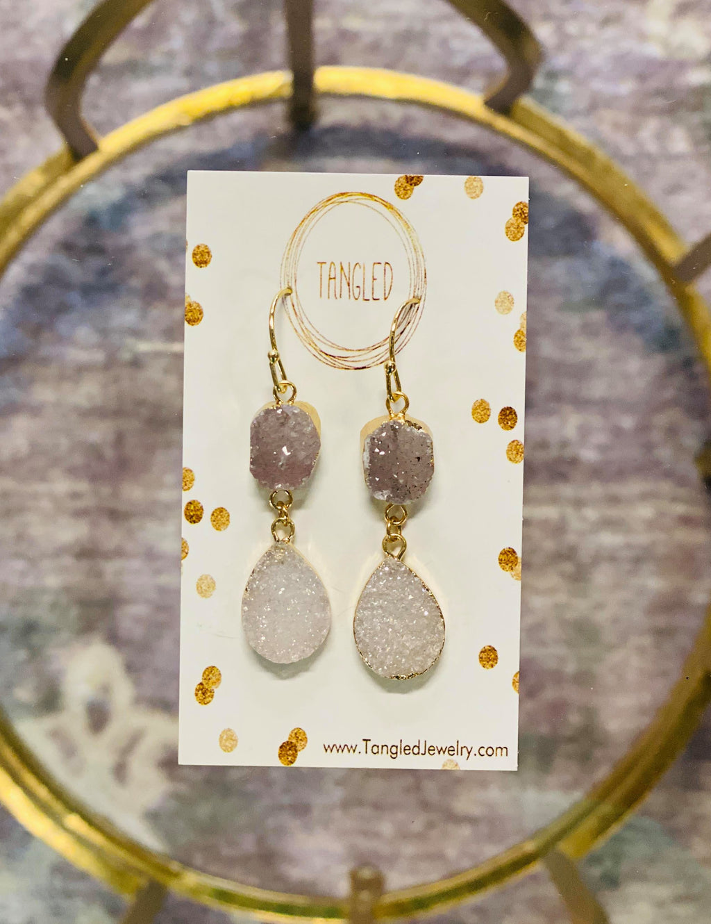 Double White Druzy Drops Earrings
