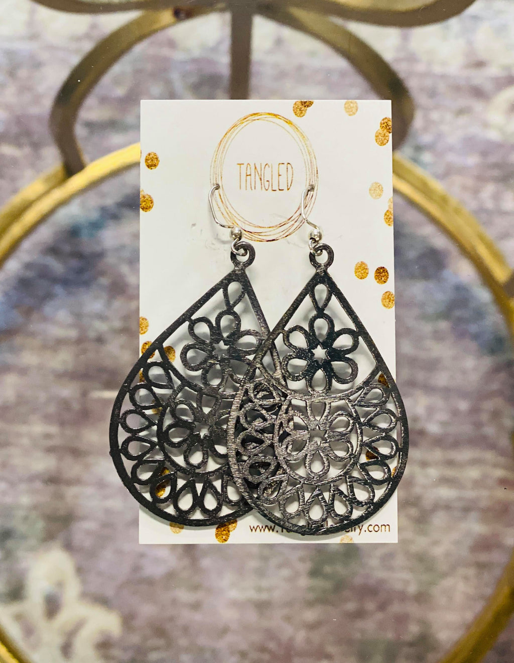 Lace Cutout Earrings GunMetal