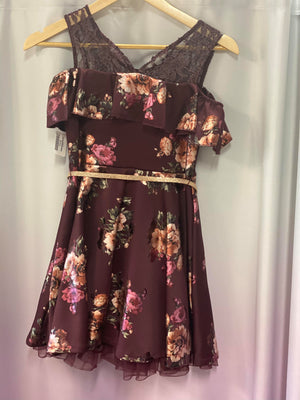 Short Burgundy Floral Girls Dress with Tulle Lining and Cold Shoulder
