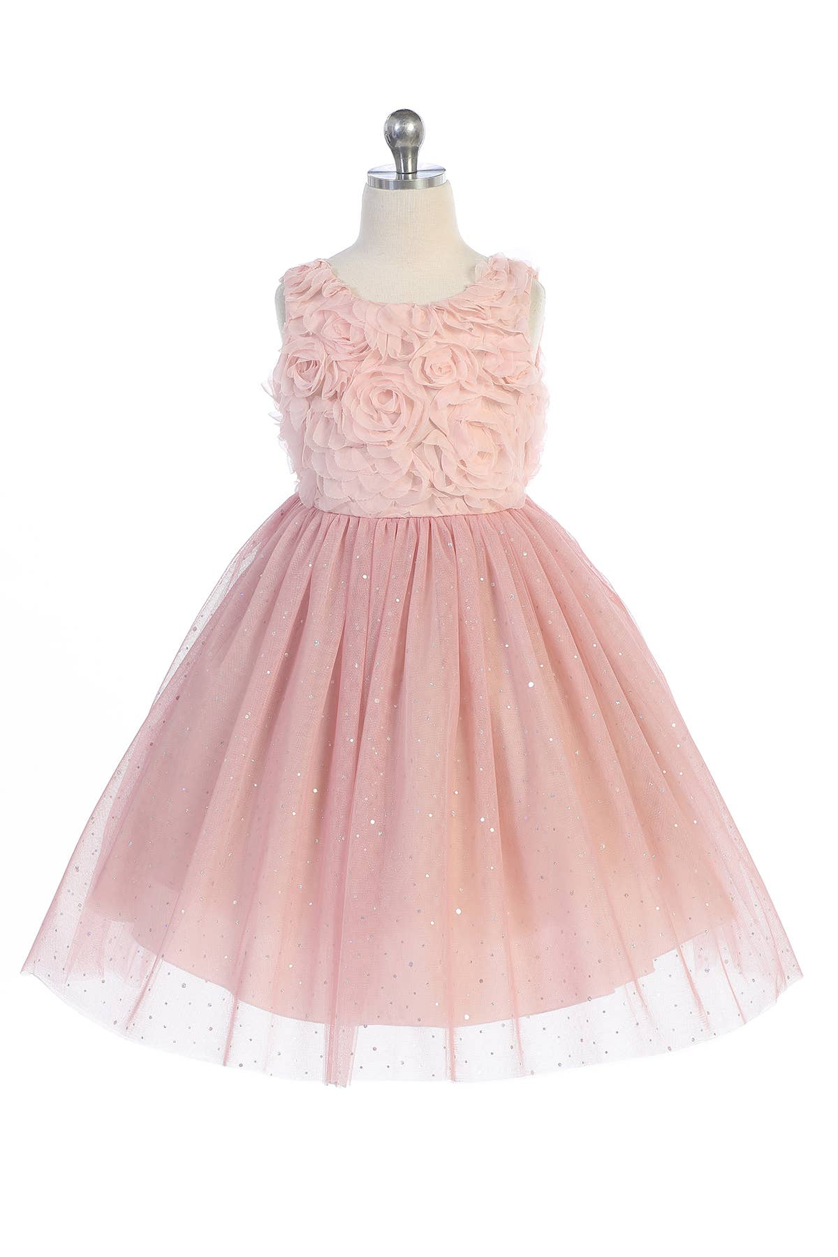 Dusty Rose - 3D Ruffle Glitter Tulle Skirt Dress