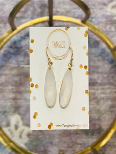 Quartz Faceted Drop Earrings, GOLD Frame