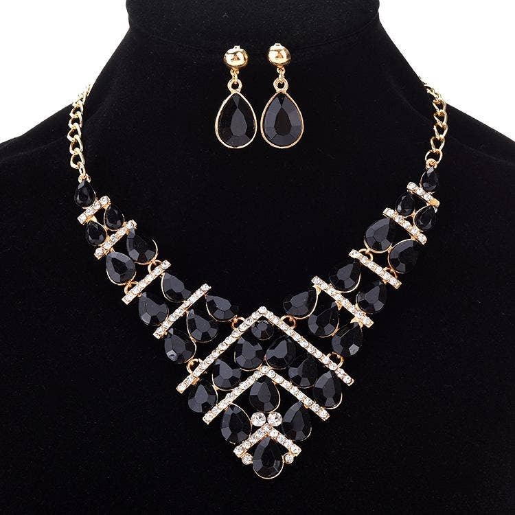 AJS Fancy Black Teardrop Necklace & Earrings Set