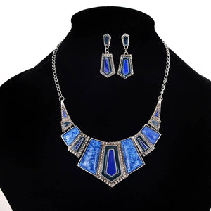 AJS Blue & Silver Necklace Set