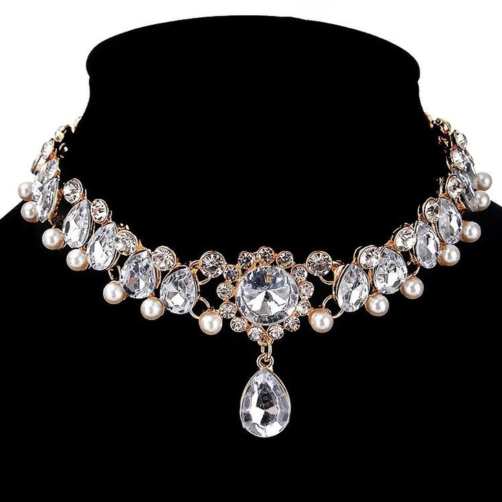 AJS Faux Crystal and Pearl Choker Necklace