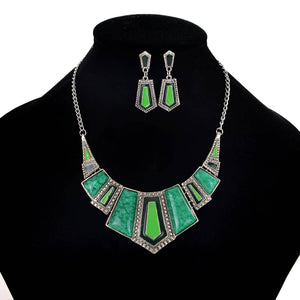 AJS Green & Silver Necklace Set