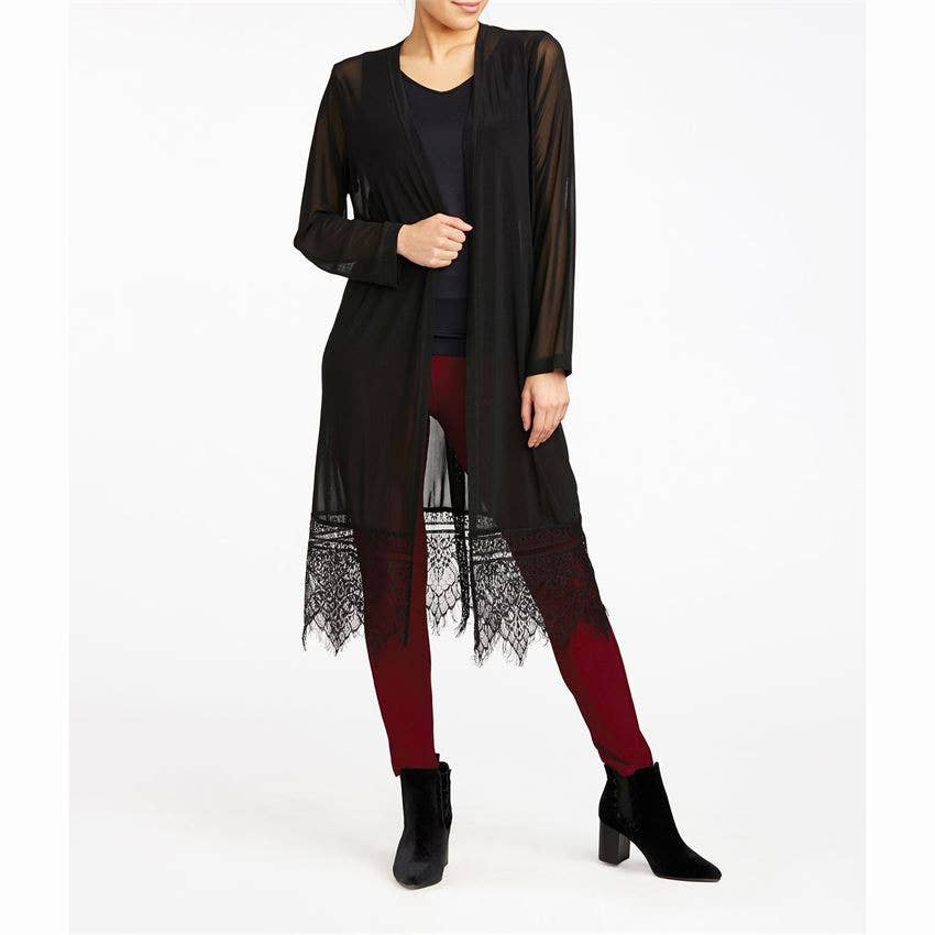Lace Trim Mesh Cardigan Black S/M
